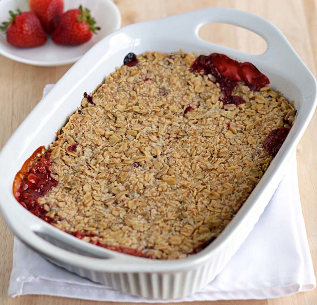 Strawberry rhubarb crisp - Friday is Cake Night