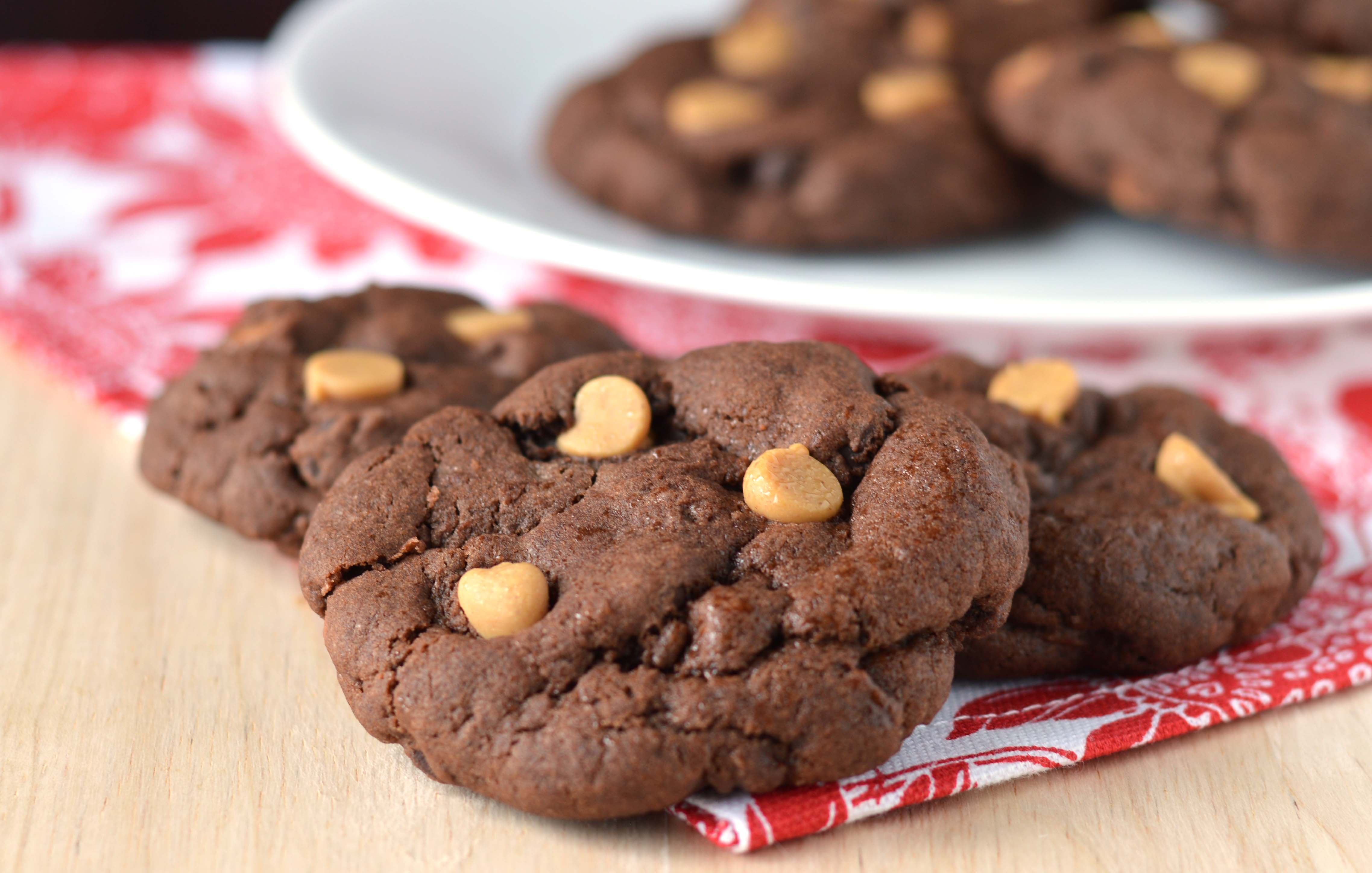 Double chocolate peanut butter chip cookies - Friday is Cake Night