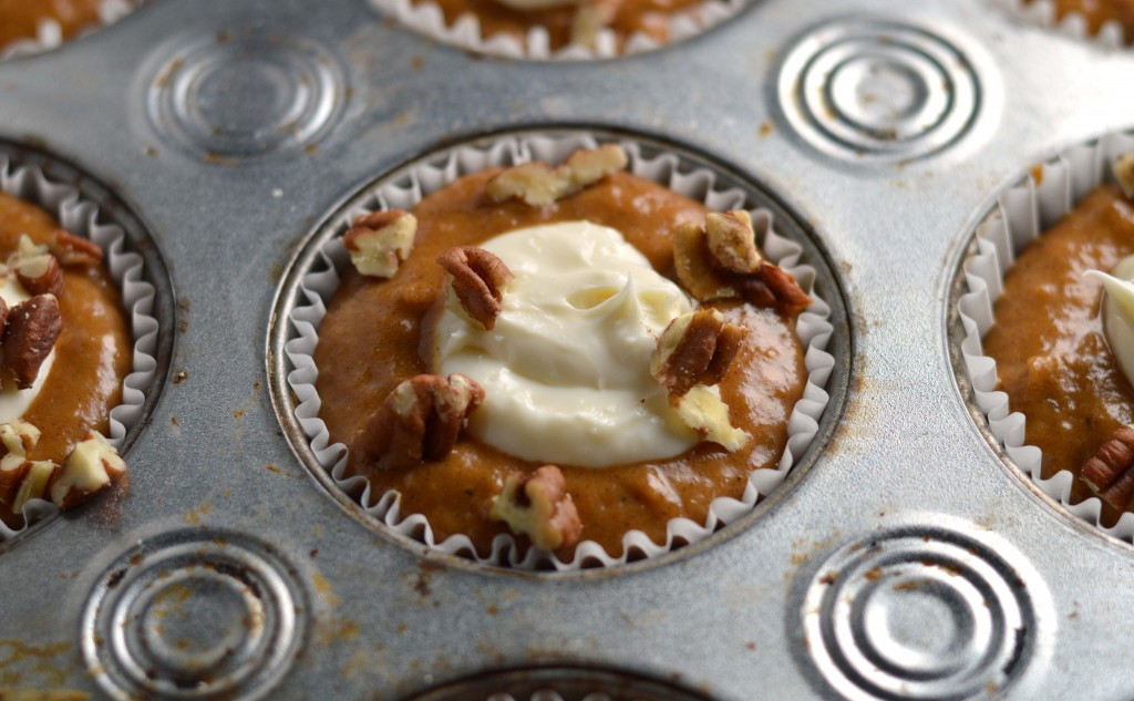 pumpkin muffin with cream cheese and pecans