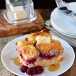 Raspberry-coconut cream stuffed french toast