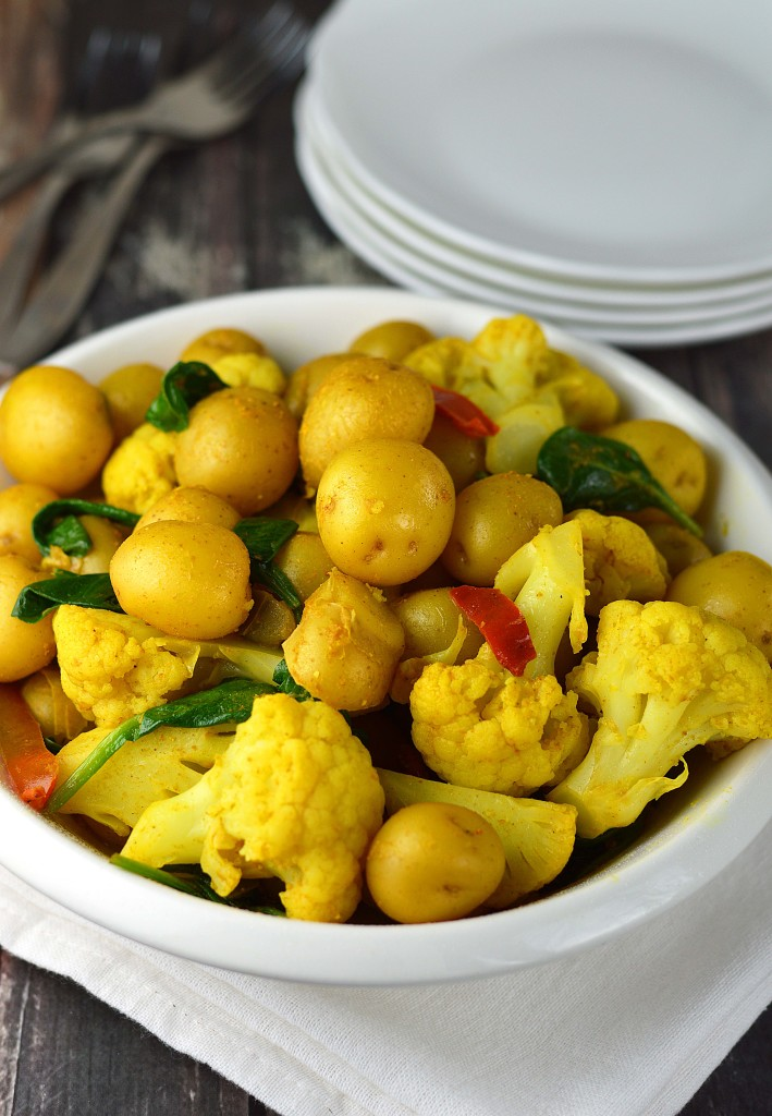 Indian spiced potatoes and vegetables