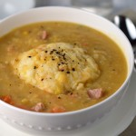 Pea soup with sharp cheddar dumplings