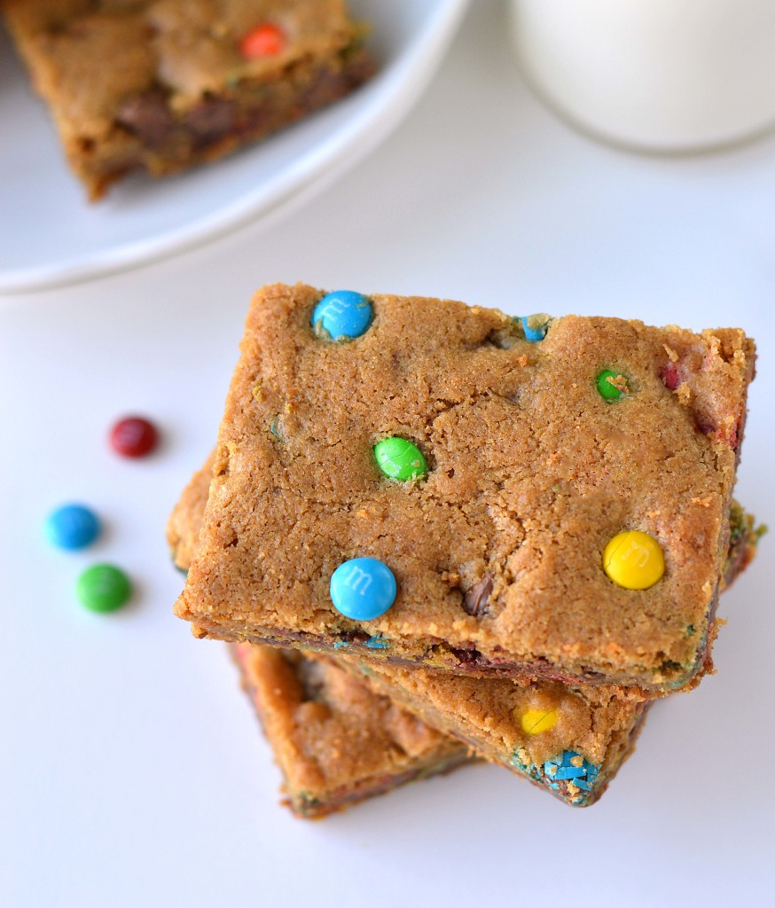 Chocolate M&M cookie bars - Friday is Cake Night