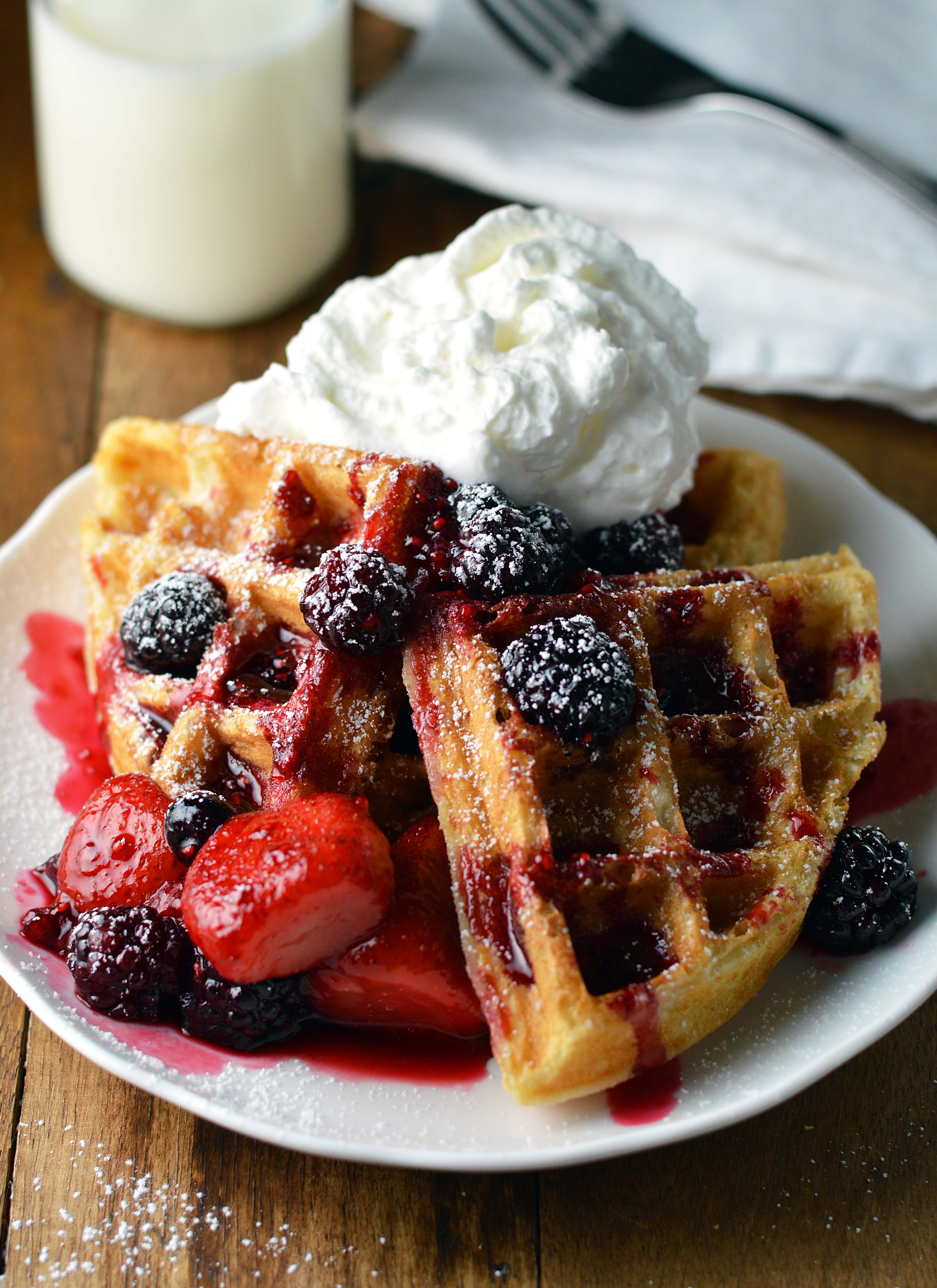 Waffles with Berry Compote - Friday is Cake Night