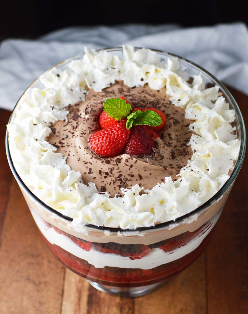 Chocolate Covered Strawberry Brownie Trifle